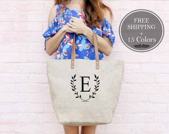 Monogrammed Tote Bag, Beach Bag, Beach Totes, Bridesmaid Gift, Burlap Overnight Bag, Weekenders Travel Bag, Personalized Bag, Tote for Women