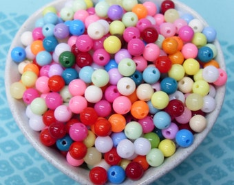300x 6mm Tiny Colourful Resin Multi color Globe beads