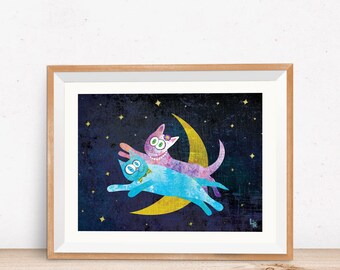 Cat Lovers Over the Moon, Fine Art Print - Romantic Cat Art - Digital Cat Illustration, Whimsical Cat Art