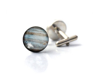 Jupiter Cuff Links - Galaxy Accessories - Gifts for Dudes, Planet, Space Cufflinks, Science Wedding, Solar System, Fathers Day, Groomsmen