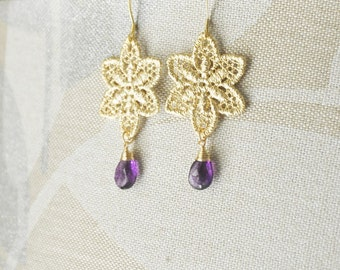 Gold Lace Earrings/ Stargazer Lily Earrings/ Statement Earrings/ Gold Earrings/Feminine Earrings/ Amethyst Earrings/ Wedding Jewelry