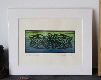 Keltische Hunde - original limitierter Linoldruck