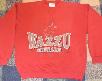 "Vintage 1990s ""Wazzu"" Washington State University WSU Cougars Crewneck Sweatshirt!!!"