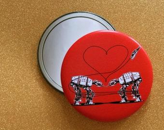 2.25 Inch AT-AT Love Purse Mirror - Red, Star Wars Mirror, Star Wars Gift, Star Wars Party, Pocket Mirror, Compact Mirror, Hand Mirror