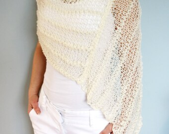 Poncho Knitting PATTERN - Thick and Thin Poncho, See-through Chunky Lace Shoulders Cover-up/Loose Knit Capelet/Bridal Wrap