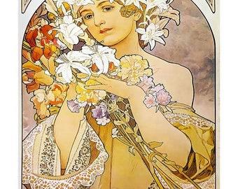 Mucha Art Print, Flower La Fleur Print, Home Decor Art Nouveau