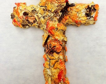 handmade original wood and plaster cross, painted wall sculpture, wall collage, blood orange, tangerine, grapevine