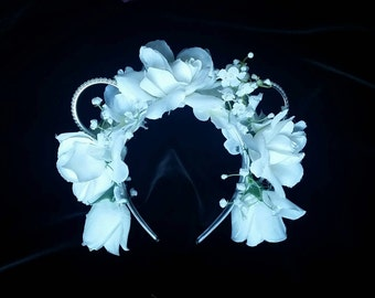 Floral headband with white roses and pearl mouse ears