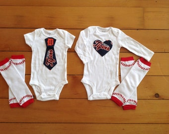 Tigers baby boy or girl! Baby Bodysuit set for little Detroit Tigers fans. Tigers baby boy, Tigers baby girl. Baby shower gift idea.