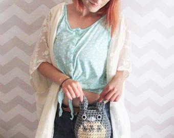 fanny pack, bum bag, hip bag, waist bag, totoro bag, kawaii, anime, phone purse, harajuku, knit bag, festival bag, crochet bag, festival