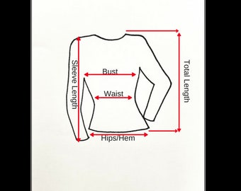 Measuring Guide/Chart for Women's Tops NOT FOR SALE