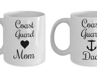 Coast Guard Mom and Dad Mug Set, US Coast Guard Coffee Mug Set, Military Mugs