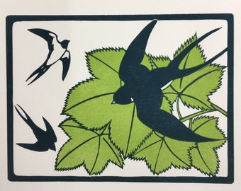 Limited edition, two plate linocut print of flying swallows