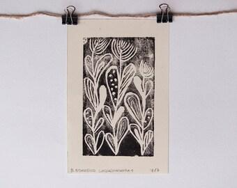 LINOLEOGRAFIA stampa, stampa tipografica di fiori in stile folk 7x11