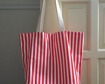 red striped beach bag // pul lined waterproof interior // market tote bag // READY TO SHIP