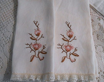 2 Ivory Linen DOGWOOD GUEST Tea TOWELS Earthy Dark Rose Pink & Brown Embroidery Lace Edging Powder Room Pretty Set, 1940 Arts Crafts 13 x 18