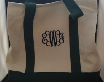 10 Monogrammed beach bag/Personalized Tote bag/canvas tote. Navy/Natural