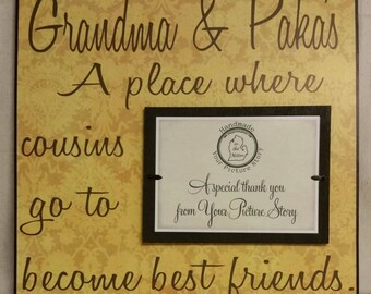 Grandparents Picture Frame, 12x12 Mimi, Papa, Grandma, Grandpa, Grandmother, Grandfather, Nana, Cousins, Best Friends, Mothers Day, Gift