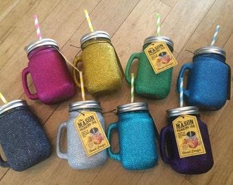 Glittered Mason Jars *Glitter*Colourful*