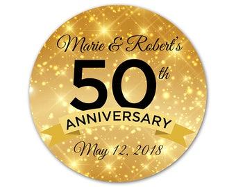 Personalized Anniversary Stickers - Custom Anniversary Labels - Golden Anniversary - Gold Anniversary Stickers - Personalized Labels