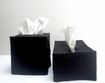 black linen tissue cover