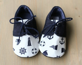 Baby boy denim shoes, nautical baby shoes, anchor baby shower gift, toddler shoes, blue baby outfit, newborn gift, photo prop