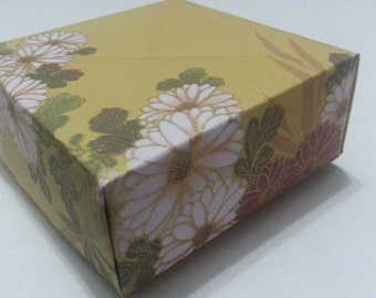Origami Masu Boxes - Lovely Floral series with  Yellow Gold Traditional Japanese Washi pattern