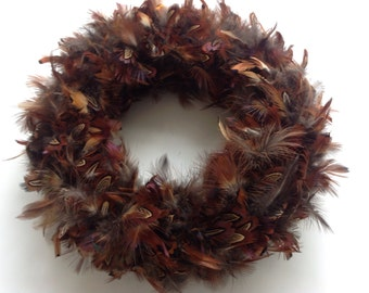 "16"" inches wreath - Real Feather Wreath - Table Decoration - Door Wreath - Made By Hand -Easter wreath- Fall wreath - 16"" inches wreath"