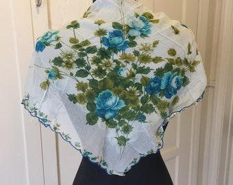 Blue Floral Scarf, Vintage Sheer Nylon Scarf, Blue Green Gray Chiffon Scarf, Blue Roses, 50's 60's Rockabilly, Pin Up, Vegan Scarf