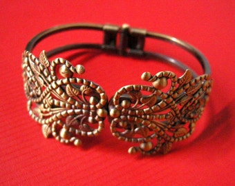 1pc antique bronze filigree bracelet setting-5404