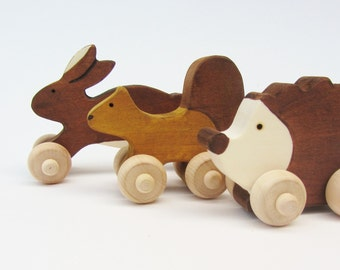 Woodland Animal ensemble enfants Eco Friendly poussoir Mini jouets Waldorf en bois