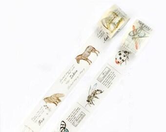 Vintage Animal Encyclopedia Washi Tape, Masking Tape - WT433