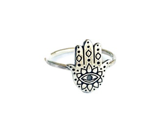 hamsa ring sterling silver, silver evil eye ring, silver hand of fatima ring, silver third eye ring, silver all seeing eye ring, occult ring