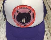 Toddler/Kid Trucker Hat with Bear Appliqué Patch-Fun K...
