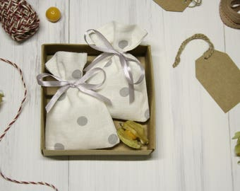 Linen favor bags set of 50, linen  bags, small gift bags, polka dot bags, gray ribbon