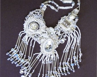 Beaded embroidery handmade fringe necklace one of a kind white vintage cabochon
