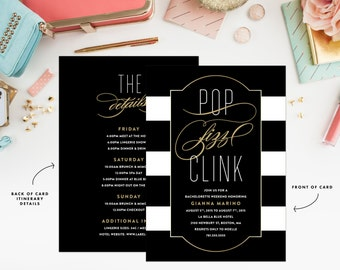 Champagne Taste Weekend Bachelorette Invitation