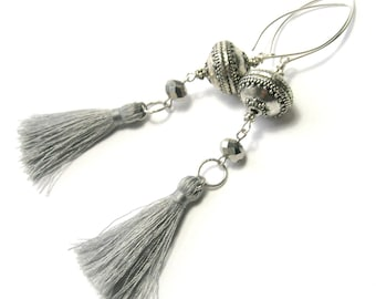 Silver Silk Tassel Earrings - Sterling Silver Ear Wires - Very Long Drop