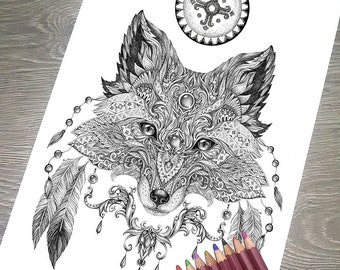 """Printable Coloring Page JPG - Adult Colouring Page, Instant Download only, Art Printable illustrations - """"Magic Totem"""" - Fox"""