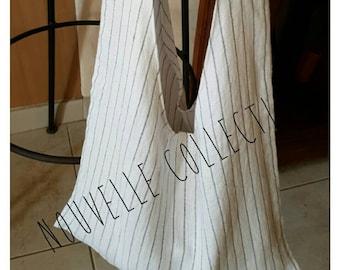 Lined tote bag linen gauze. Unique piece. Hand made.