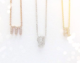 Mini diamond initial disc necklace lowercase 14k yellow mini 14k gold diamond initial necklace 14kt yellow white rose gold lowercase mozeypictures Image collections