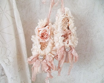 Shabby Blush Pink Satin Lace and Roses Tattered Ballet Slippers Worn Ballet Pointe Assemblage Art Shoes