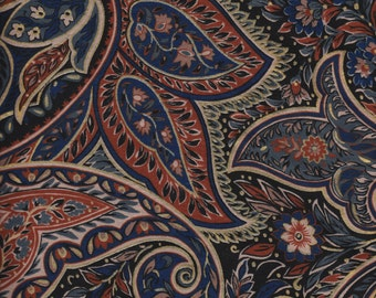 Paisley Fabric - Large Paisley in Blue Red Metallic Gold - From Interior Fabric Design - OOP - BTHY