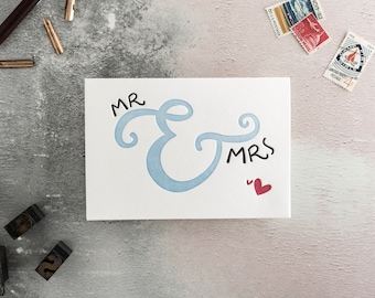 Mr & Mrs Letterpress Wedding Card