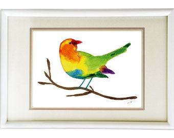 Bird Wall Decor, Bird Wall Art, Bird Art Prints, Giclee Print, Bright Colored Print, Wall DecorNursery Wall Art Watercolor Nursery Bird Art