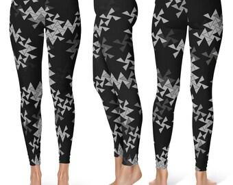 Geometric Leggings Yoga Pants, Printed Yoga Tights, Black and Gray Triangle Pattern