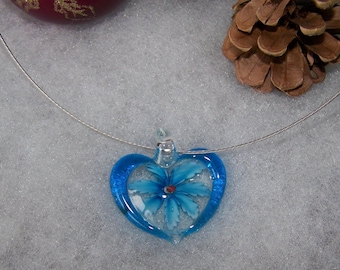 clear & turquoise murano style heart