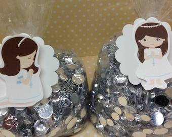First Communion Party Candy or Favor Bags and Tags - Set of 10