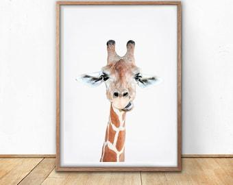 Giraffe Print, Safari Wall Art, Digital Download, African Poster, Minimalist Art, Printable Wall Art, Animal Decor, Wild Life Photography