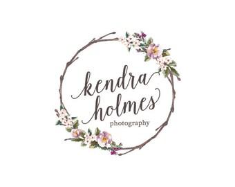 Wreath flower logo custom logo design premade logo watermark watercolor logo photography logo business logo floral logo graphic design